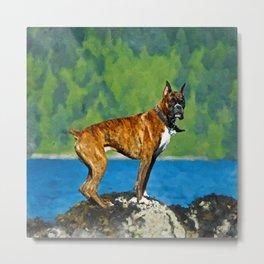 Boxer dog Watercolor Digital Art Metal Print