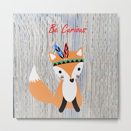 Little Tribal Fox Metal Print
