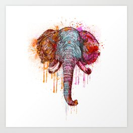 Watercolor Elephant Head Art Print