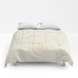 Minimal New York City Subway Map Comforters