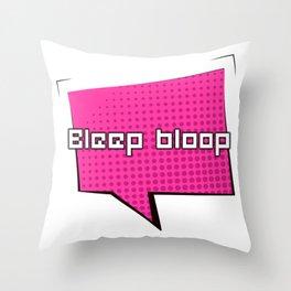 Bleep Bloop Robot Speech Bubble Design Throw Pillow