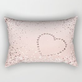 Sparkling ROSE GOLD Lady Glitter Heart #5 #decor #art #society6 Rectangular Pillow
