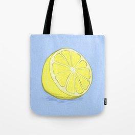 Lemon on Lavender Blue Tote Bag