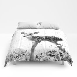 The Sweetest fawn Black & White Comforters