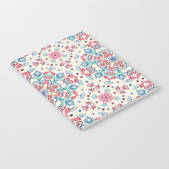 Pastel Blue, Pink & Red Watercolor Floral Pattern on Cream Notebook