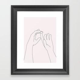Hands line drawing illustration - Darcy Natural Framed Art Print