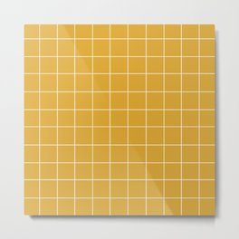Grid (Mustard Yellow) Metal Print