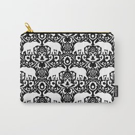 Elephant Damask Black and White Carry-All Pouch