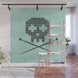 Knitted Skull / Knitting with Attitude (black on vintage aquamarine) Wall Mural