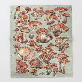 A Series of Mushrooms Throw Blanket