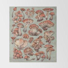 A Series of Mushrooms Throw Blanket