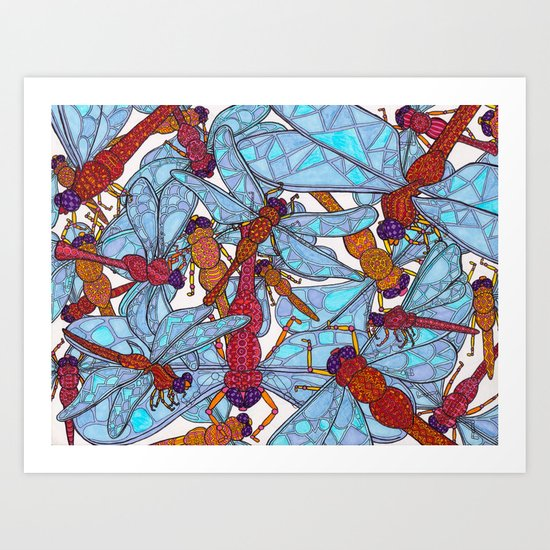 Dragonfly Disco (red) Art Print