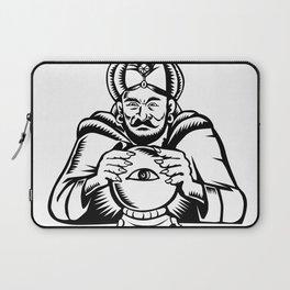 Fortune Teller Eye on Crystall Ball Woodcut Laptop Sleeve