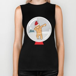 Gingerbread Man Dabbing in a Snow Globe Christmas Biker Tank