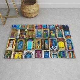 Behind Every Door (Is A Home), Collage Painting of Colorful World Doors by Jeanpaul Ferro Rug