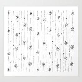 Delicate Flowers Doodle Pattern Art Print