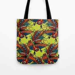 rooster ink chartreuse Tote Bag