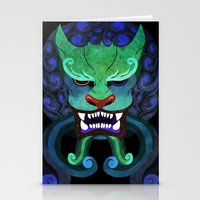 foo fighters Stationery Cards featuring Foo dog by kitsunebis