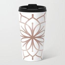Rose Gold Mandala - Metalic Rose Pink Metal Travel Mug