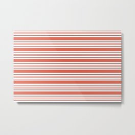 Pantone Living Coral Thick and Thin Horizontal Lines (Stripes) Metal Print