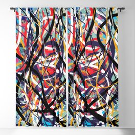 Abstract expressionist art in red blue and black Blackout Curtain