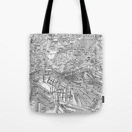 Vintage Map of Hamburg Germany (1910) 2 BW Tote Bag