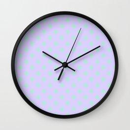 Magic Mint Green on Pale Lavender Violet Stars Wall Clock
