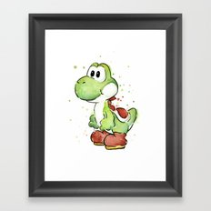 Yoshi Watercolor Mario Framed Art Print