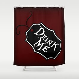 """Drink Me"" Alice in Wonderland styled Bottle Tag Design in 'Tulgey Wood Brown' Shower Curtain"