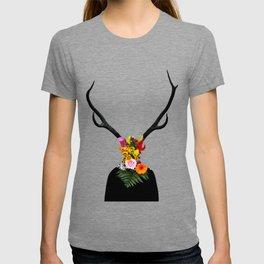 Deer head on flowers T-shirt