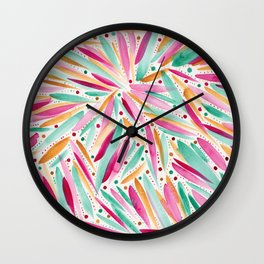 Summer Vibes in stripes and dots Wall Clock