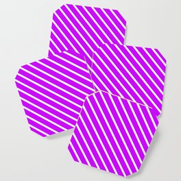 Neon Purple Diagonal Stripes Coaster