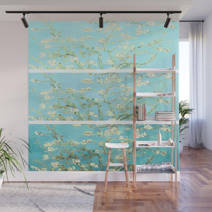 Vincent Van Gogh Almond Blossoms  Panel arT Aqua Seafoam Wall Mural