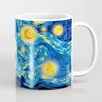fandom Mugs featuring Blue Phone box Starry the night iPhone 4 4s 5 5c 6, pillow case, mugs and tshirt by Three Second