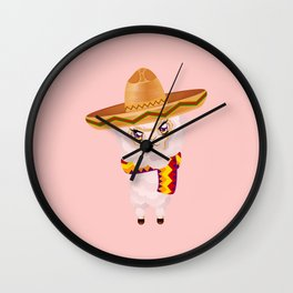 Cute Alpaca in Sombrero Wall Clock