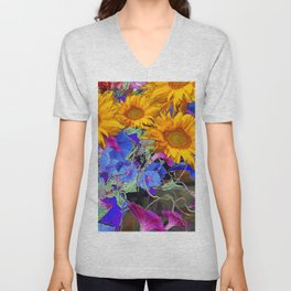 LARGE YELLOW SUNFLOWERS & BLUE MORNING GLORIES FLORAL Unisex V-Neck
