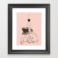The Love of Pug Framed Art Print