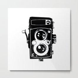 Big Vintage Camera Love - Black Metal Print