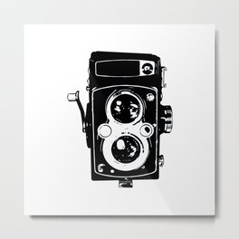 Big Vintage Camera Love - Black Metal Print
