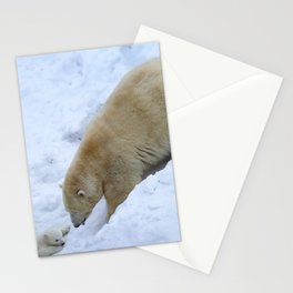 Polar bear mom with twins. Stationery Cards