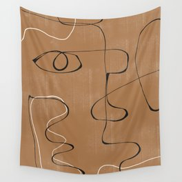 Abstract Face One Line Wall Tapestry