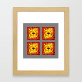 DECORATIVE TEAL-RED & YELLOW SUNFLOWER GREY DECO FLORAL Framed Art Print