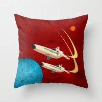battlestar galactica Throw Pillows featuring Galactica by Tony Vazquez