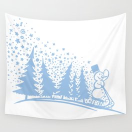 Snowman and sledge Wall Tapestry