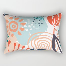 Summer Abstract, Floral Prints, Orange, Teal, Blue, Colourful Prints. Rectangular Pillow