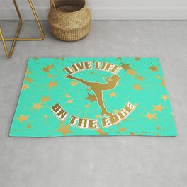 Figure Skating Live Life on the Edge in Aqua  with Gold Stars Design Rug