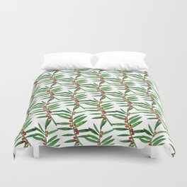 Forest green red watercolor hand painted berries leaves Duvet Cover