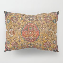 Persian Medallion Rug VI // 16th Century Distressed Red Green Blue Flowery Colorful Ornate Pattern Pillow Sham