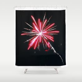 RED FIREWORK Shower Curtain