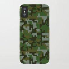 Green Pixel Army Camo pattern iPhone X Slim Case